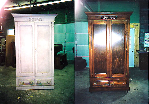 Armoire Refinish before & after