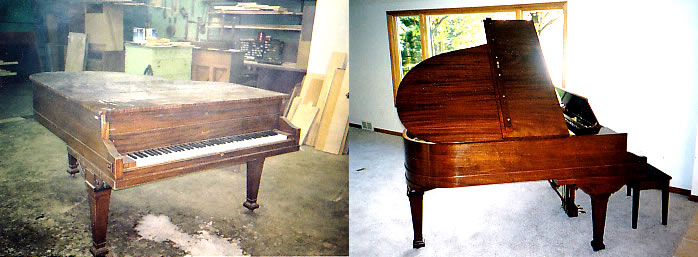 Grand piano refinish before & after photo